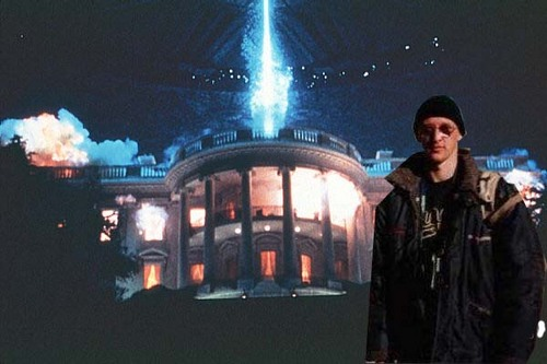 At the blowing up of the White House - Independence Day.